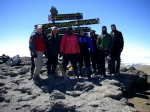 Joe Stewart celebrating his 50th birthday with his son and son-in-laws and Kiliwariors guide team #1 on Mt Kilimanjaro A