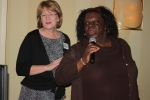 Linda Maddux Hamrick and Octavia Chisholm doing a Karaoke