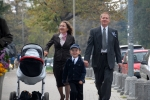 Chuck Hahs with his wife, Teresa, his four-year-old son, Filip, and his daughter, Carla, on the way to the Christening o