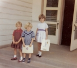 Mimi McCauley, Ellen Savage and Peggy McNally on our 1st day of School '63 ... and still friends today