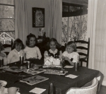 Mimi and Priscilla with friends back in '64.  Priscilla is 2nd from the right at my party.