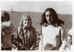 Phil Shapiro with Syosset friend Barbara on Staten Island Ferry, April 1975. The ORHS AFS club was up in New York for a